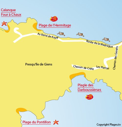 Map of Hermitage Beach in Hyères