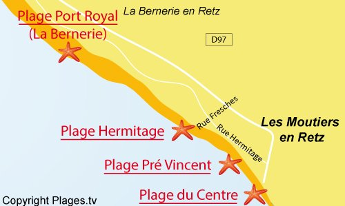 Carte de la plage de l'Hermitage à Les Moutiers en Retz