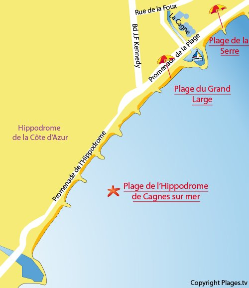 Map of Hippodrome Beach in Cagnes Sur Mer