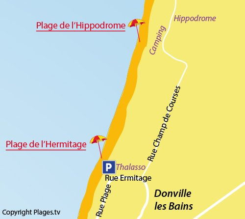 Map of Hippodrome Beach in Donville