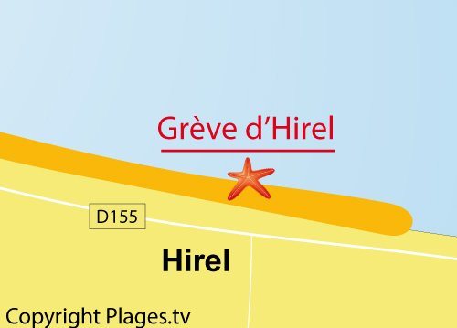 Map of Hirel beach in France