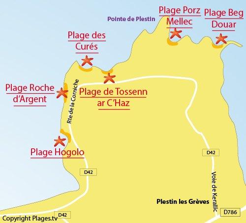 Carte de la plage du Hogolo de Plestin les Grèves