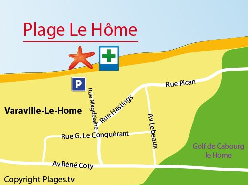 Map of Le Home beach in Varaville