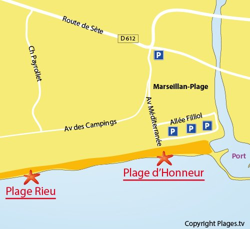Map of Honour Beach in Marseillan
