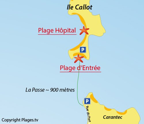 Map of L'Hopital beach - Callot island - Carantec