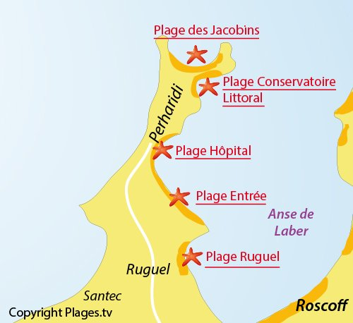 Map of Hopital beach in Roscoff