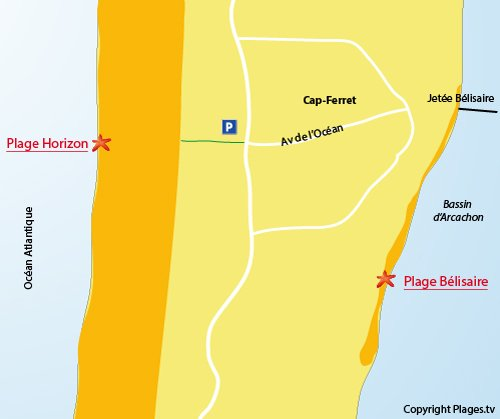 Map of Horizon beach in Cap Ferret