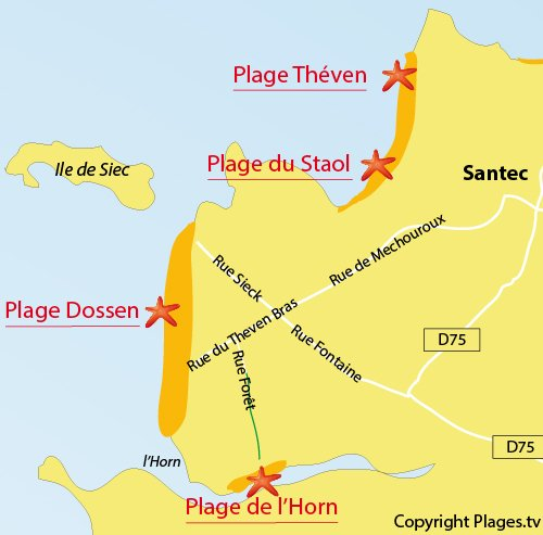 Map of Horn Beach in Santec