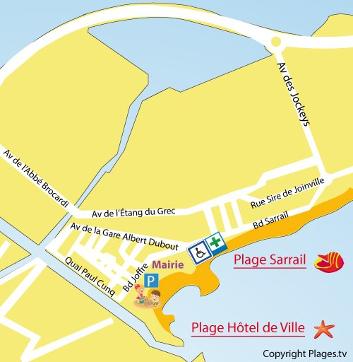 Map of Hôtel de Ville Beach in Palavas les Flots