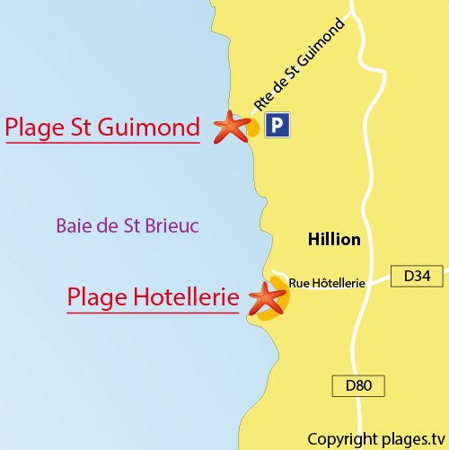 Carte de la plage de l'Hôtellerie à Hillion