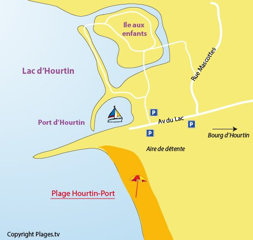 Carte de la plage du port d'Hourtin