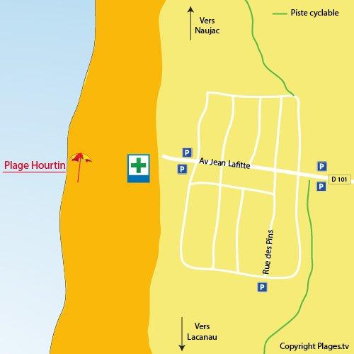 Carte de la plage océane d'Hourtin