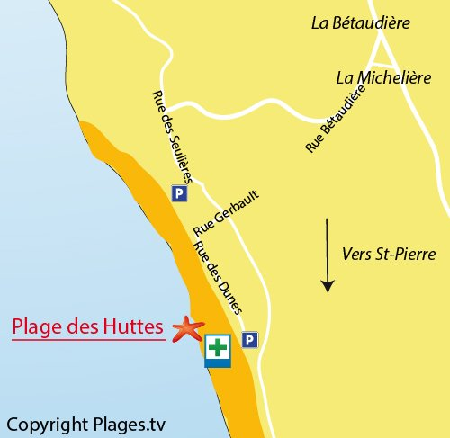 Map of Huttes beach in St Denis d'Oléron