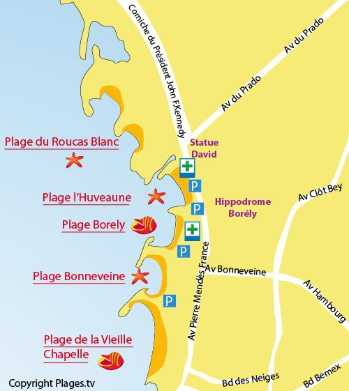 Map of Huveaune Beach in Marseille