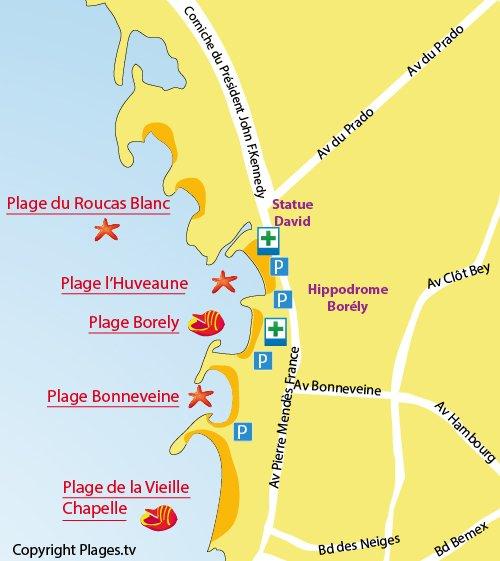 Map of Huveaune Beach in Marseille