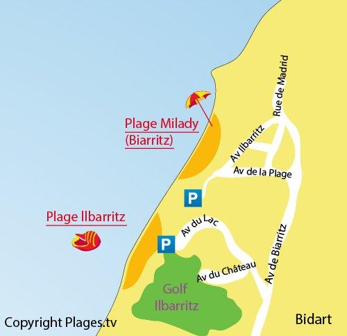 Carte de la plage d'Ilbarritz à Bidart