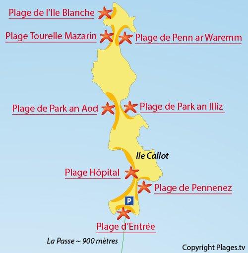 Plan de la plage au nord de l'ile de Callot - Carantec