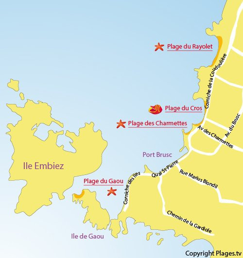 Carte des plages sur l'île de Gaou dans le Var