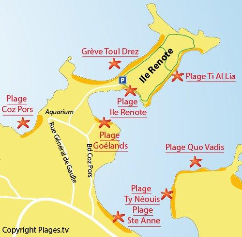 Carte de la plage sur l'Ile Renote - Trégastel