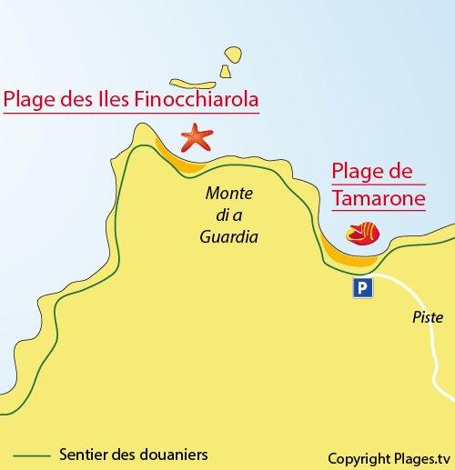 Plan des plages des Iles Finocchiarola à Macinaggio