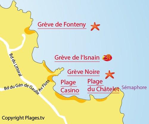 Carte de la plage de l'Isnain à Saint Quay Portrieux