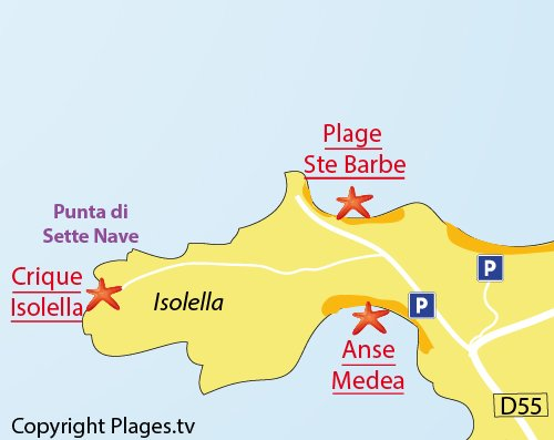 Carte de la plage d'Isolella en Corse