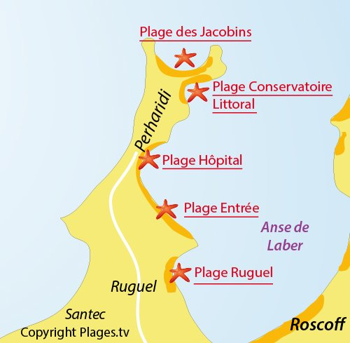 Map of Jacobins Beach - Perharidi - Roscoff