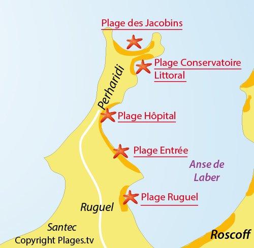Carte de la plage des Jacobins de Roscoff