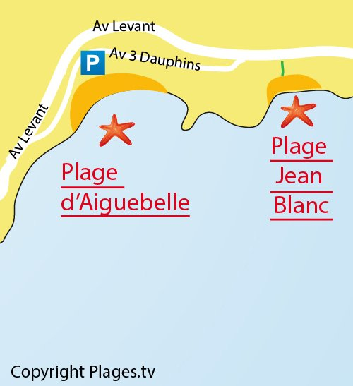Plan de la plage Jean Blanc au Lavandou