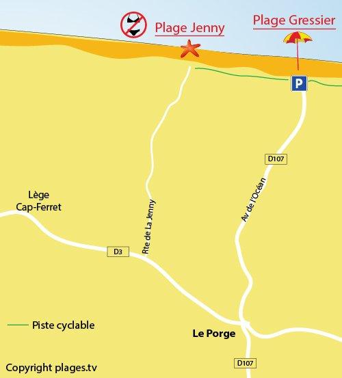 Carte de la plage du Jenny - Le Porge - 33