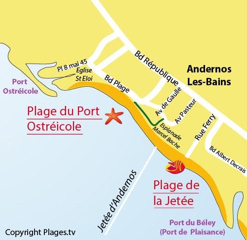 Plan de la plage de la Jetée à Andernos les Bains