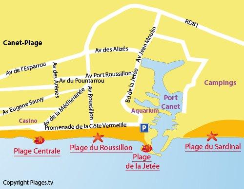 Mappa della Spiaggia della Jetée a Canet en Roussillon