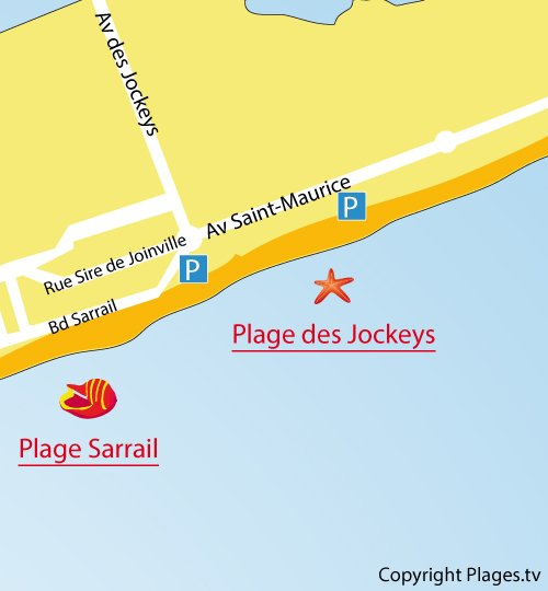 Map of Jockeys Beach in Palavas les Flots