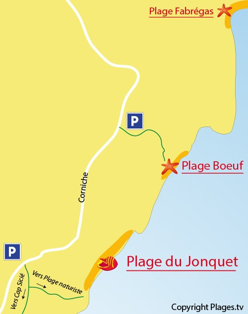 Map of Jonquet Beach in La Seyne sur Mer