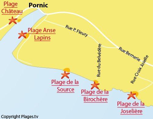 Carte de la plage Joselière à Pornic