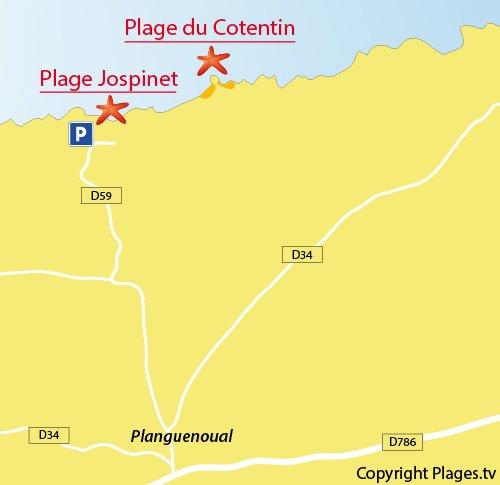 Carte de la plage du Jospinet à Planguenoual