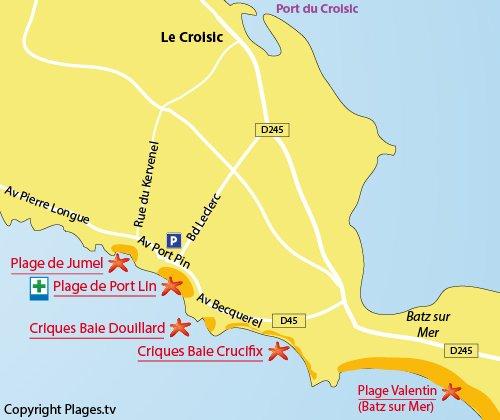 Mappa della Spiaggia di Jumel - Le Croisic