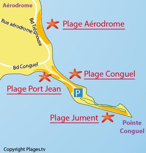 Map of Jument Beach in Quiberon