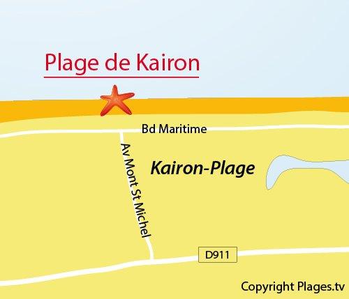 Map of Kairon Beach in Saint Pair sur Mer