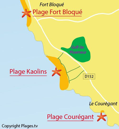 Map of Kaolins Beach in Ploemeur