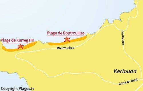 Carte de la plage de Karreg Hir à Kerlouan