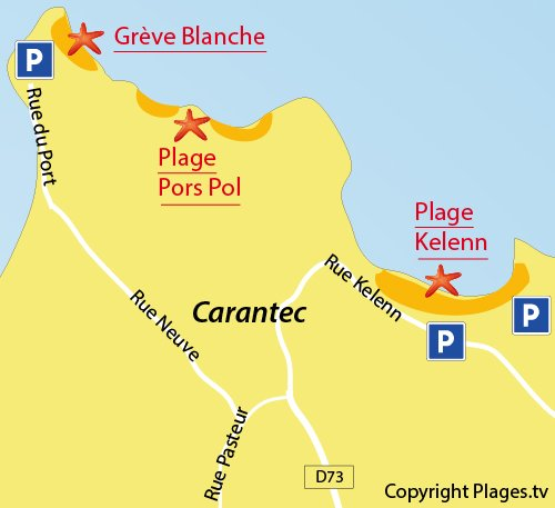 Map of Kelenn Beach in Carantec