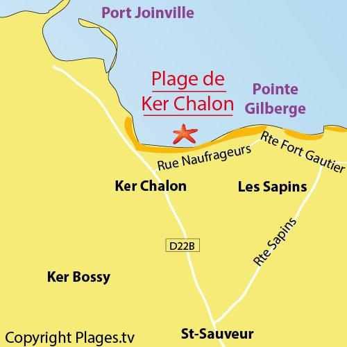 Map of Ker Chalon beach in Ile d'Yeu