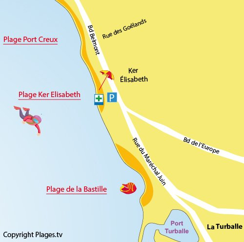 Map of Ker Elisabeth beach in La Turballe in France