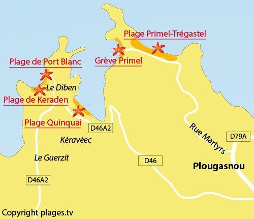 Carte de la plage de Keraden à Plougasnou