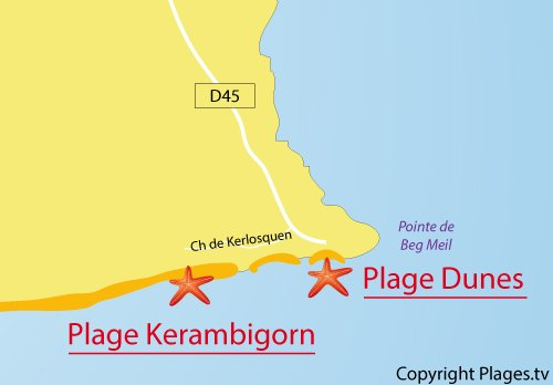 Carte de la plage de Kerambigorn à Fouesnant