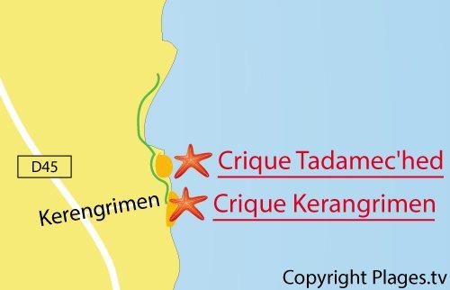 Carte de la plage de Kerangrimen à Fouesnant