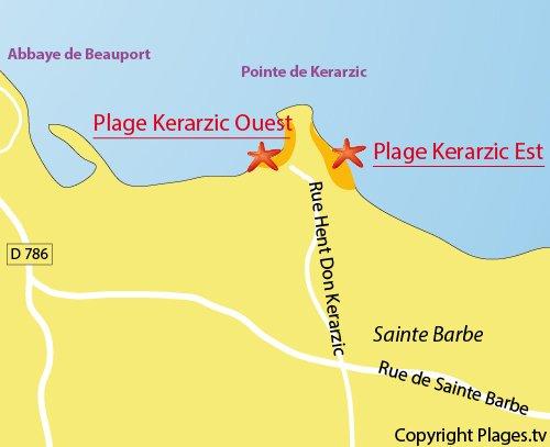 Plan de la plage à l'est de la pointe de Kerarzic de Paimpol