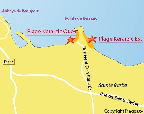Plan de la plage de Kerarzic de Paimpol
