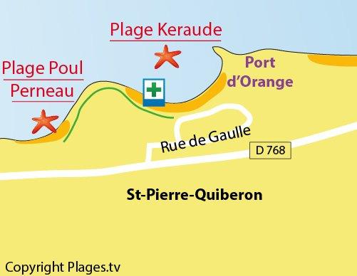 Carte des plages de Keraude à St Pierre de Quiberon